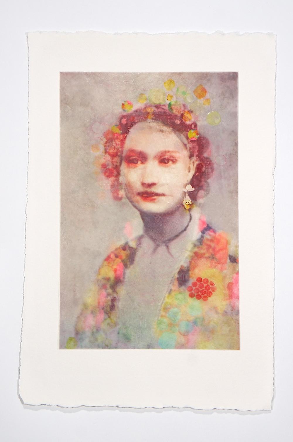 figure of beauty - Lori Henson15 x 23  Monoprint and encaustic on paper