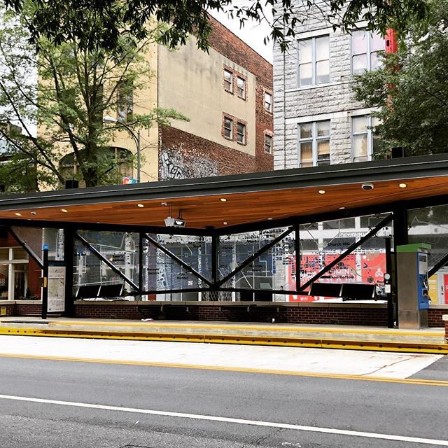 Happy reminder of our former hard work every time we drive down #broadstreet  Proud to have built all 26 of the @ridegrtc Pulse bus stops in just over a month earlier this year.  #tbt #fast #publictransportation #downtownrva @laneconstructioncorp