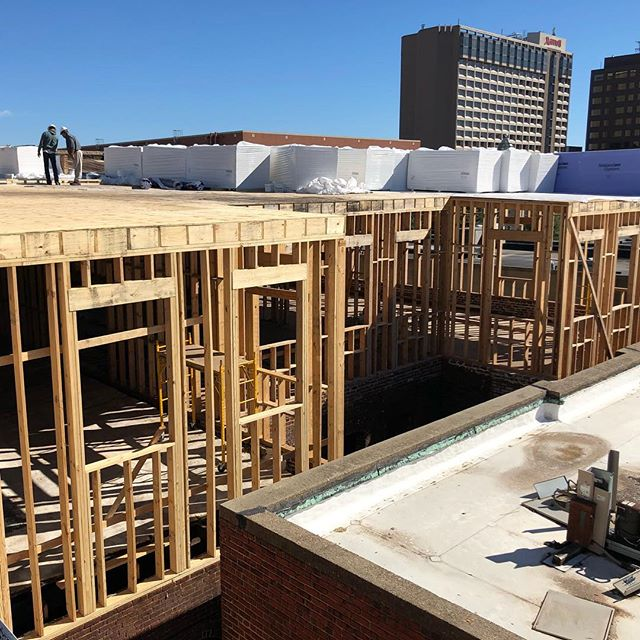 Rooftop extension framing complete across all 4 buildings @gatherrva and ready for roofing to commence. Moving downward to wrap up interior structure in the coming weeks. #structure #woodframing #homestretch @hickokcole.rva @urbancoreva
