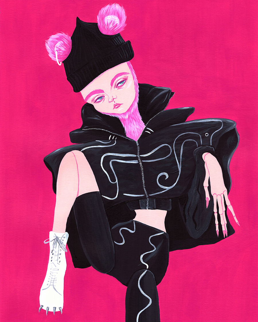 Charles Jeffrey Loverboy Fall 19 Acrylic on paper 11.7 x 16.5in
