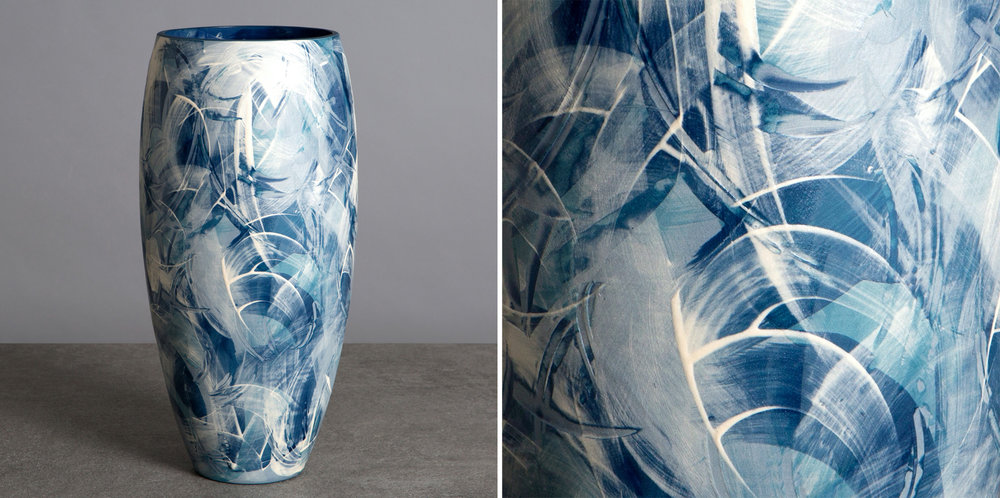 Blue and White 'Under the Waves' Series Large Ceramic Curved Vase on show at Cameron Contemporary Art, Second Avenue, Brighton & Hove.    www.cameroncontemporaryart.com