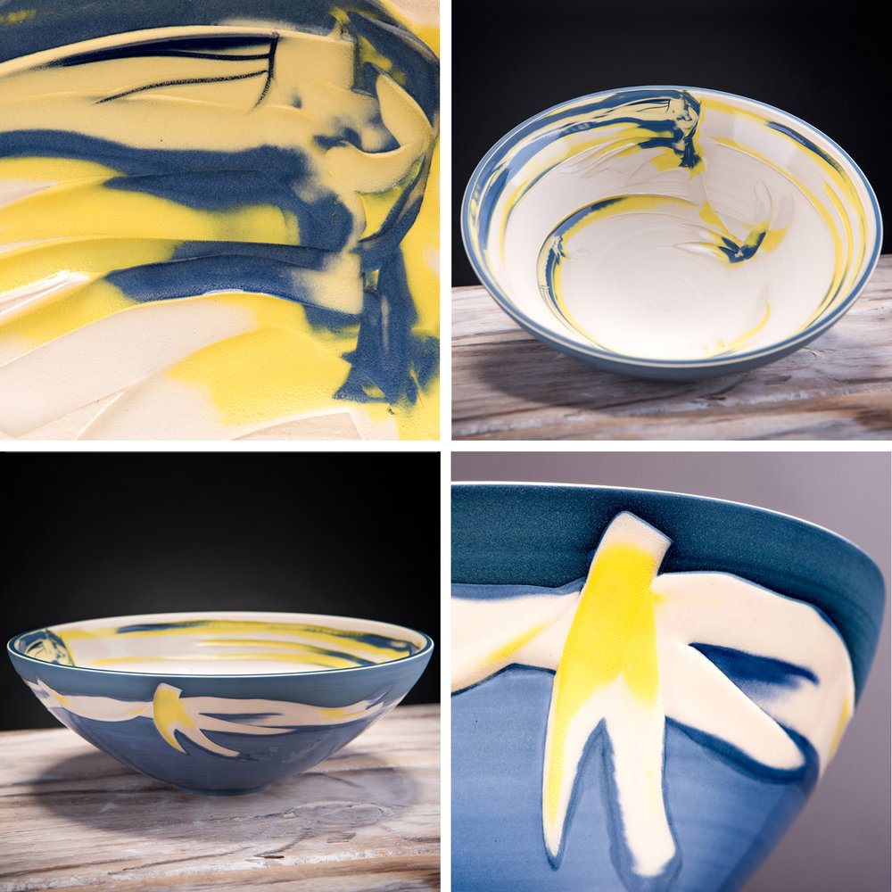 Yellow Blue Coast Series Large Low Ceramic Centre Bowl on show at The Whitehouse Gallery, Scotland To all Friends in Scotland, my first exhibition in Kirkcudbright, Dumfries & Galloway starts tomorrow 1st July with the preview at 11am serving bubbly & handmade chocolates. Please do pop by :) xx www.whitehousegallery.co.uk