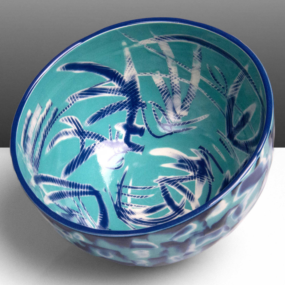 Turquoise Blue Reef Series Ceramic Bowl by Rowena Gilbert