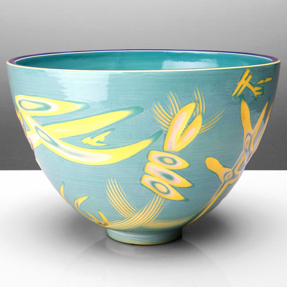 Turquoise Yellow Reef Series Ceramic Bowl by Rowena Gilbert