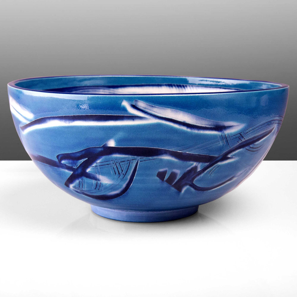 Cobalt Blue Reef Series Ceramic Bowl by Rowena Gilbert
