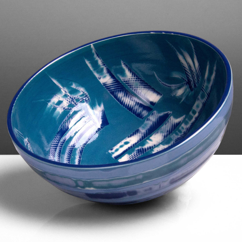 Cerulean Blue Reef Series Ceramic Bowl by Rowena Gilbert