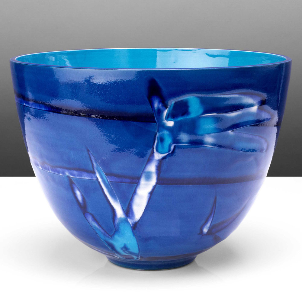 Tropical Water Blue Deep Ceramic Bowl by Rowena Gilbert