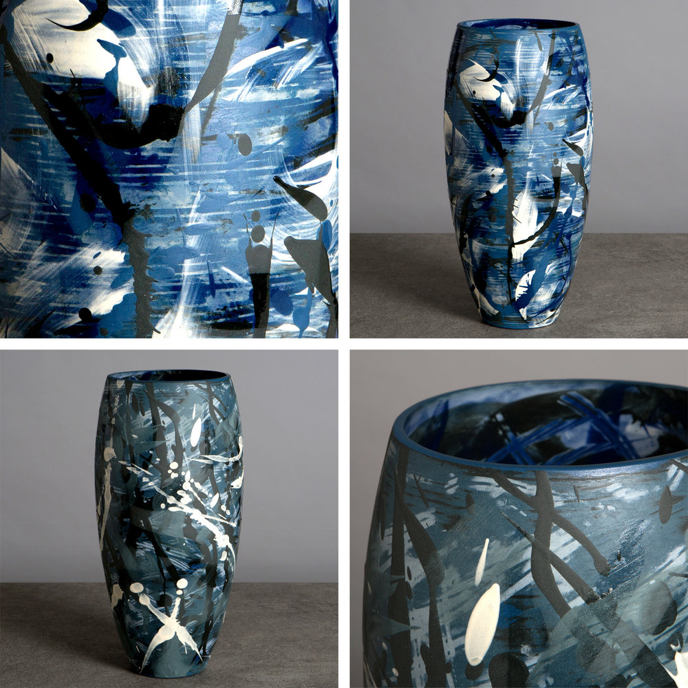 'Under the Waves' Series Large Contemporary Curved Ceramic Vases in Prussian Blue & Cobalt Blue by Rowena Gilbert My brand new collection 'Under the Waves' is being launched exclusively at Cameron Contemporary Art, Hove for their Festival 2017 Exhibition running 29th April to 11th June.  www.cameroncontemporaryart.com/FESTIVAL-2017-1