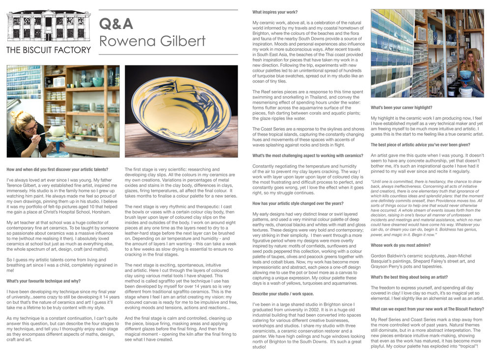 Housed in a former Victorian warehouse The Biscuit Factory is the UK's largest art, craft & design gallery set in the heart of Newcastle's cultural quarter Please Click on Image to Read Interview
