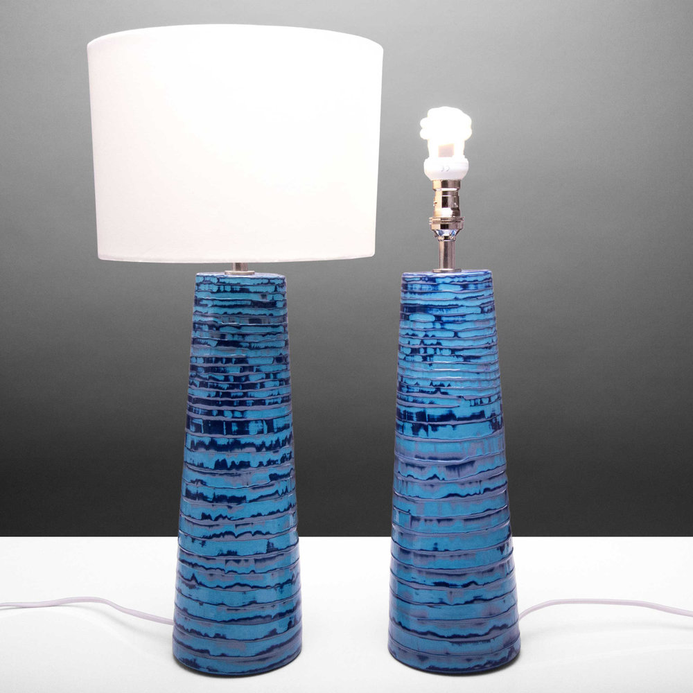 Ooleo Design Table Lamps Blue Mauve Purple by Rowena Gilbert