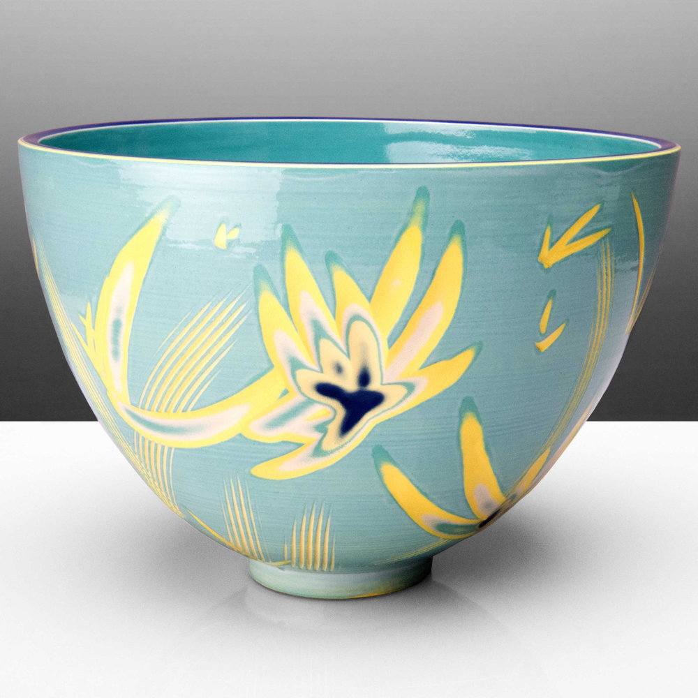Turquoise Yellow Ceramic Bowl by Rowena Gilbert Reef Series
