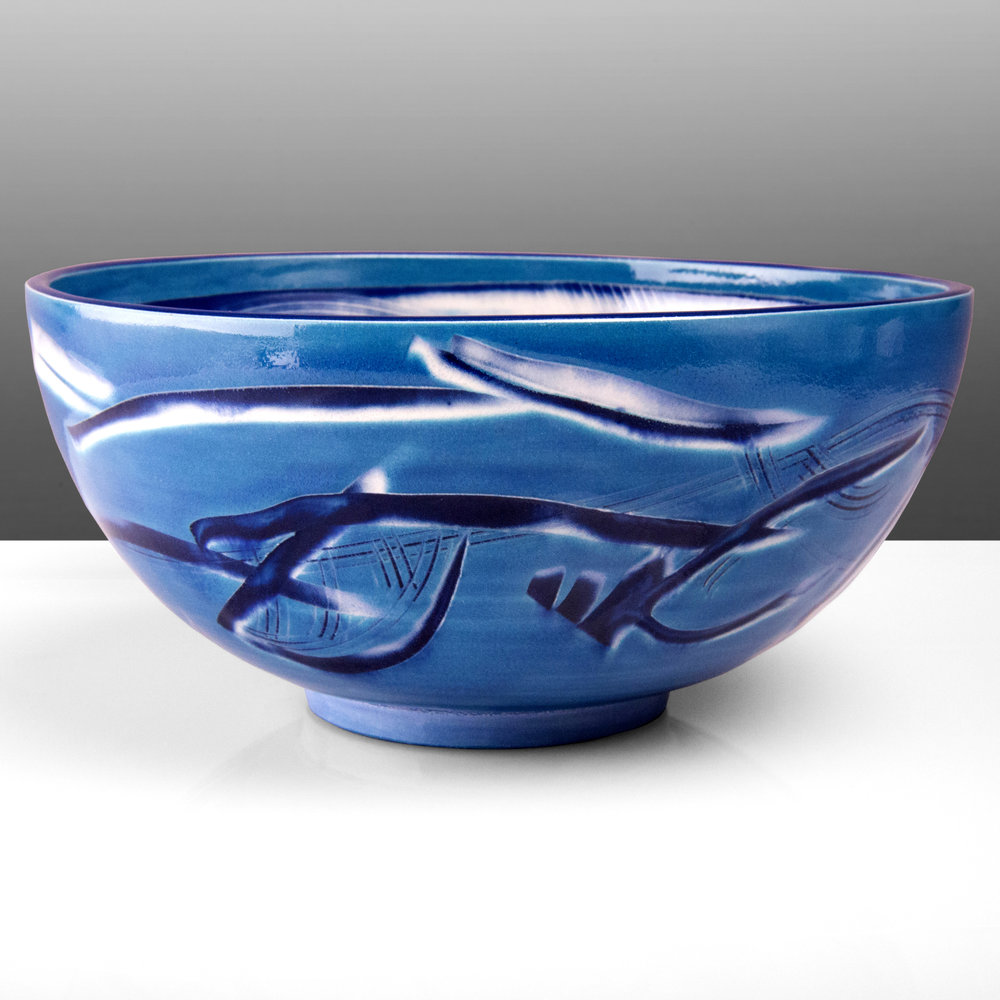Cobalt Blue Ceramic Bowl by Rowena Gilbert
