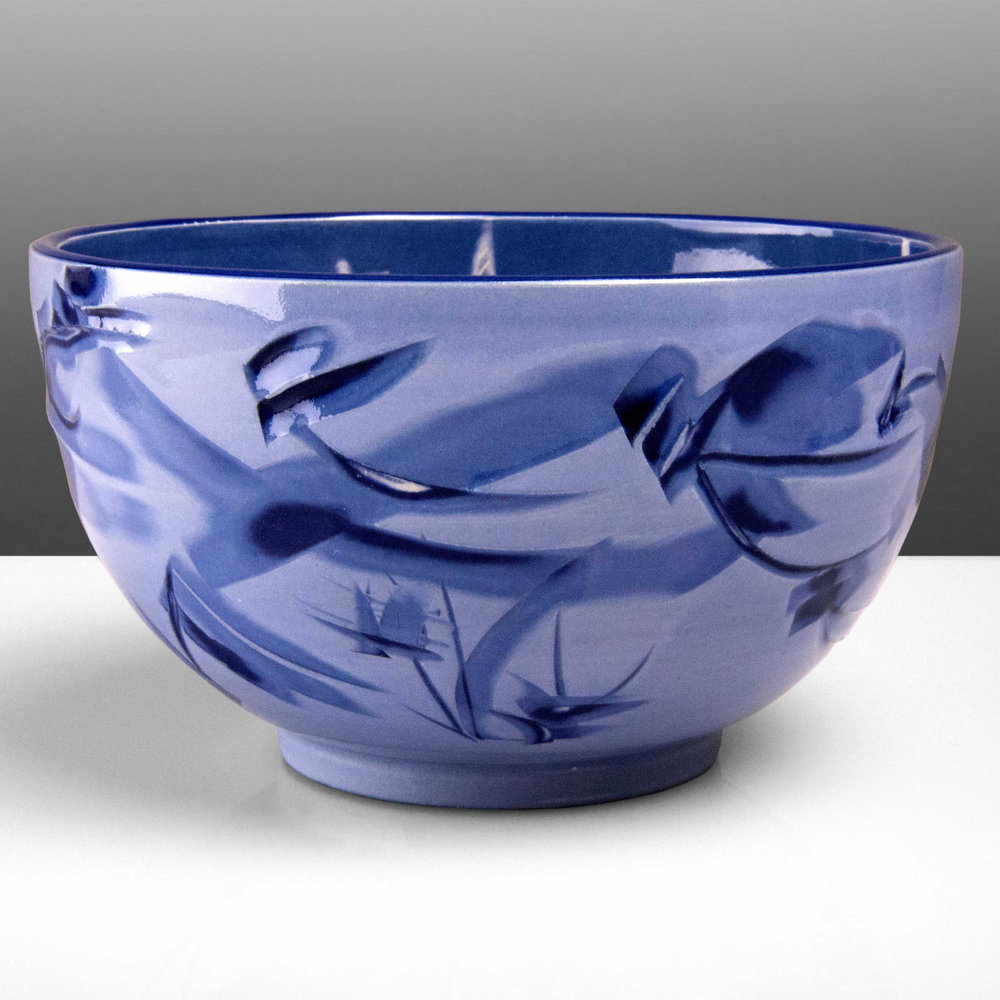 Iris Violet Purple Ceramic Bowl by Rowena Gilbert