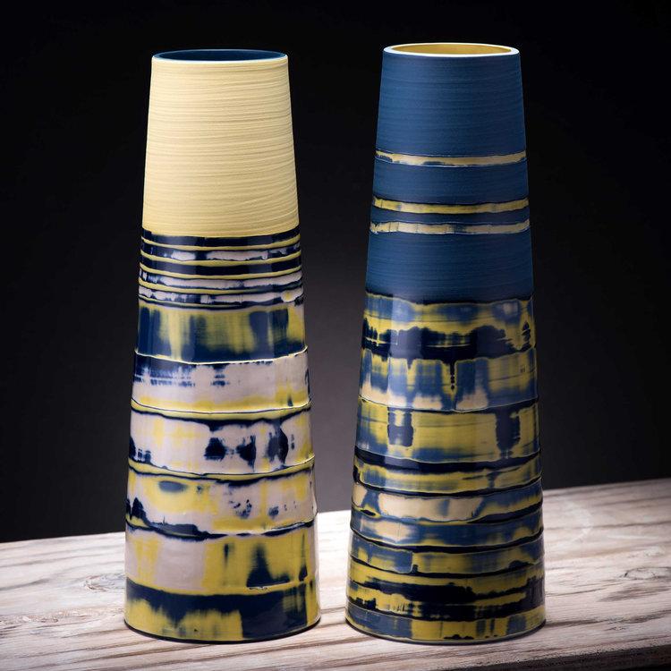 Yellow Blue Large Stem Vases Coast Series Contemporary Ceramic