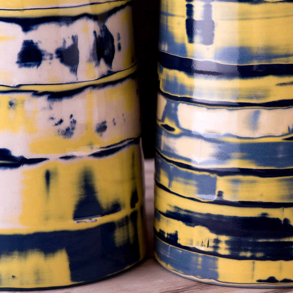 Coast Series Stripe Ceramic Pattern by Rowena Gilbert