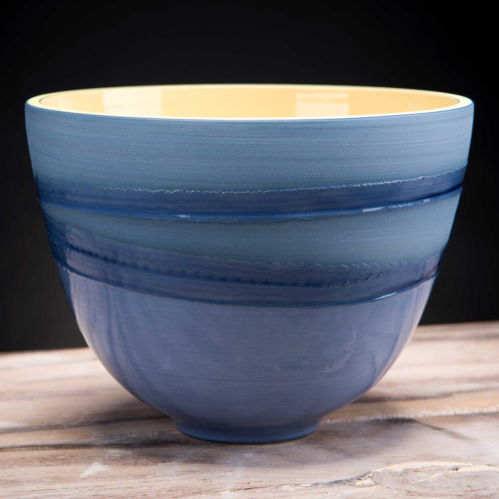 Deep Ceramic Bowl Blue Water Sea Design by Rowena Gilbert