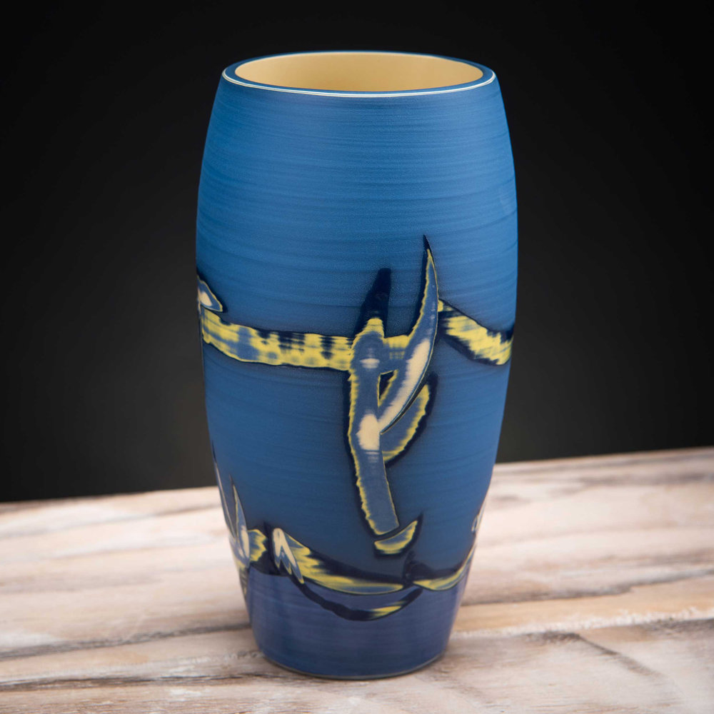 Shoreline Coast Inspired Ceramic Vase Blue by Rowena Gilbert