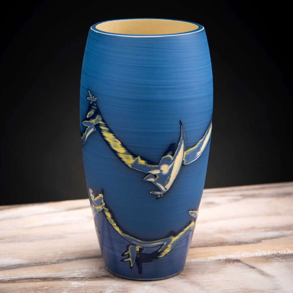 Blue Ceramic Vase Coast Series by Rowena Gilbert