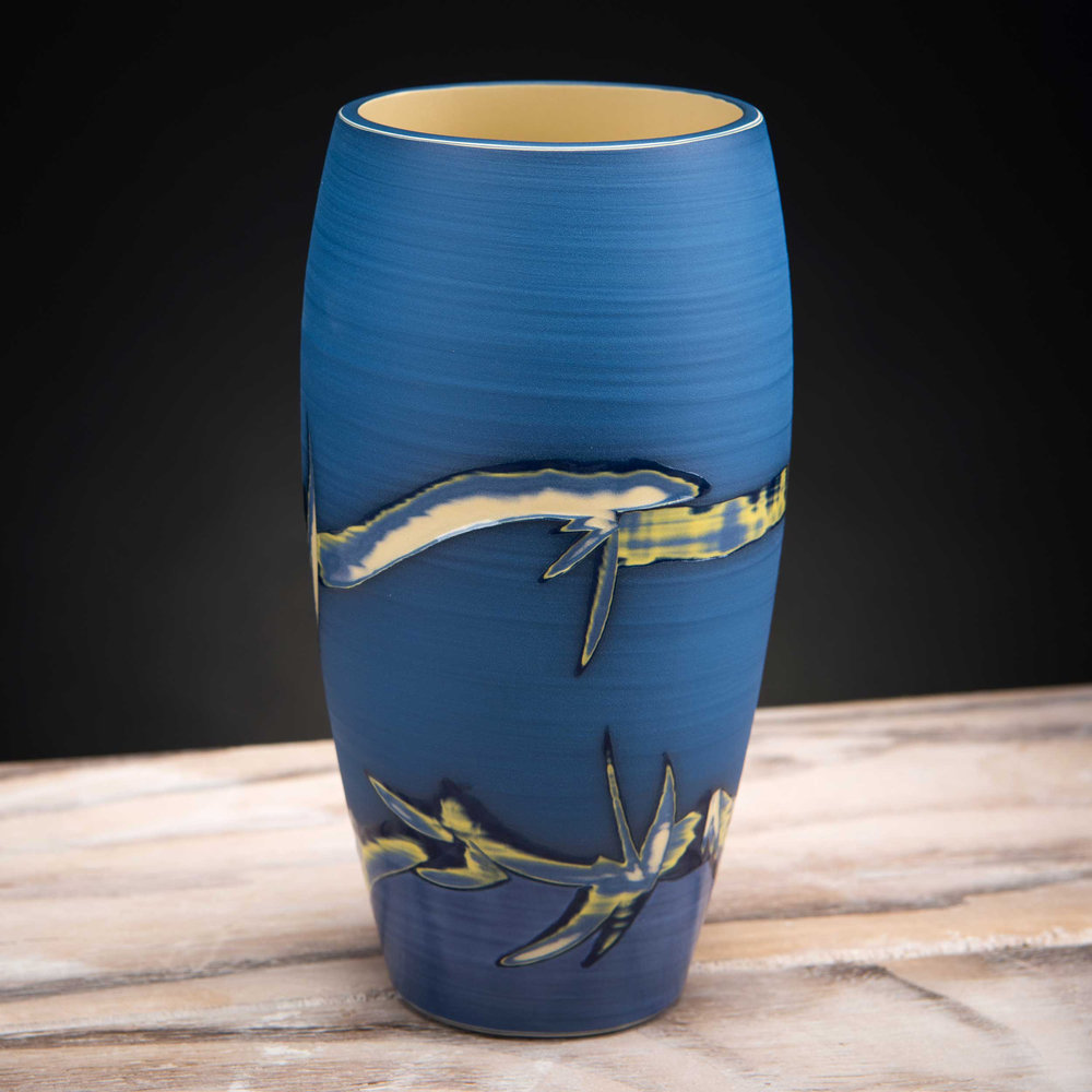 Coastline Vase Blue Ceramic by Rowena Gilbert