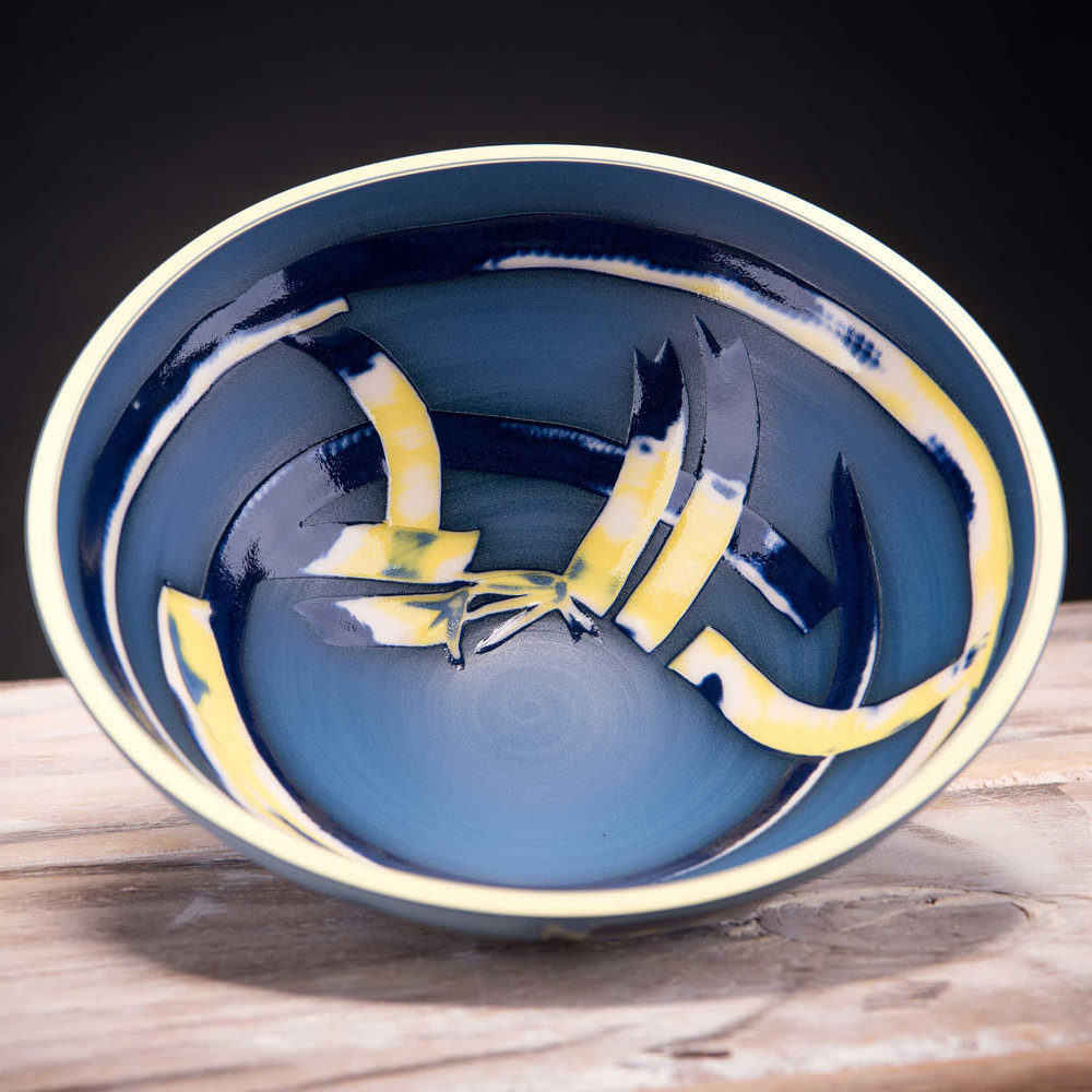 Deep Blue Low Centre Bowl Coast Series by Rowena Gilbert