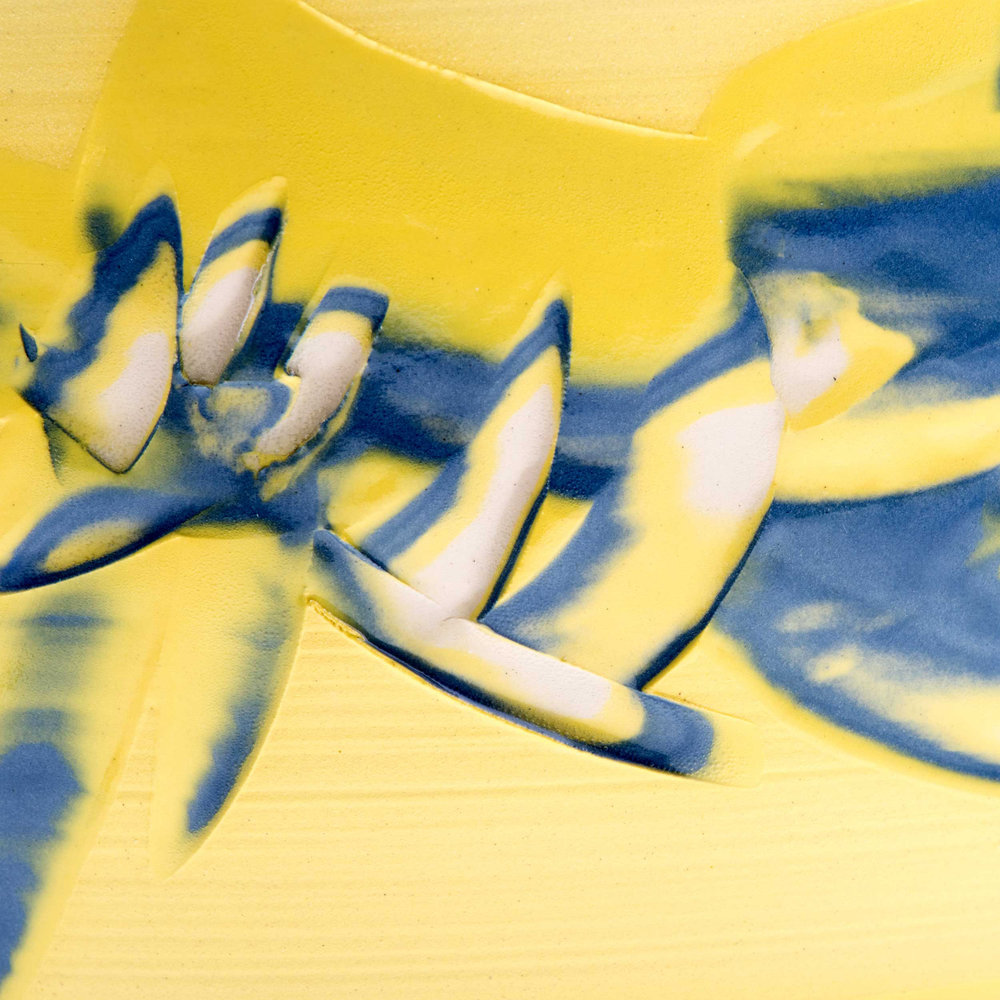 Detail Yellow Slipcast Ceramics Coast Series by Rowena Gilbert