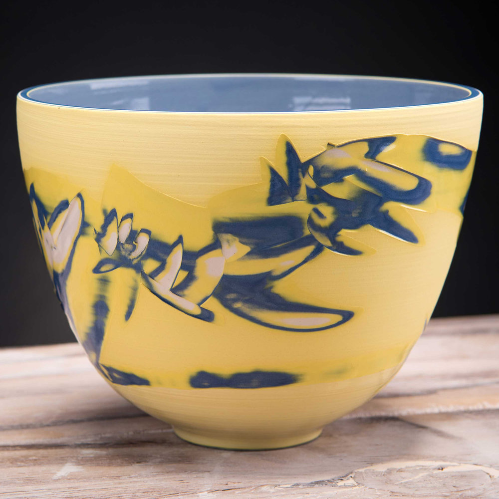 Yellow Shoreline Ceramic Deep Centre Bowl by Rowena Gilbert