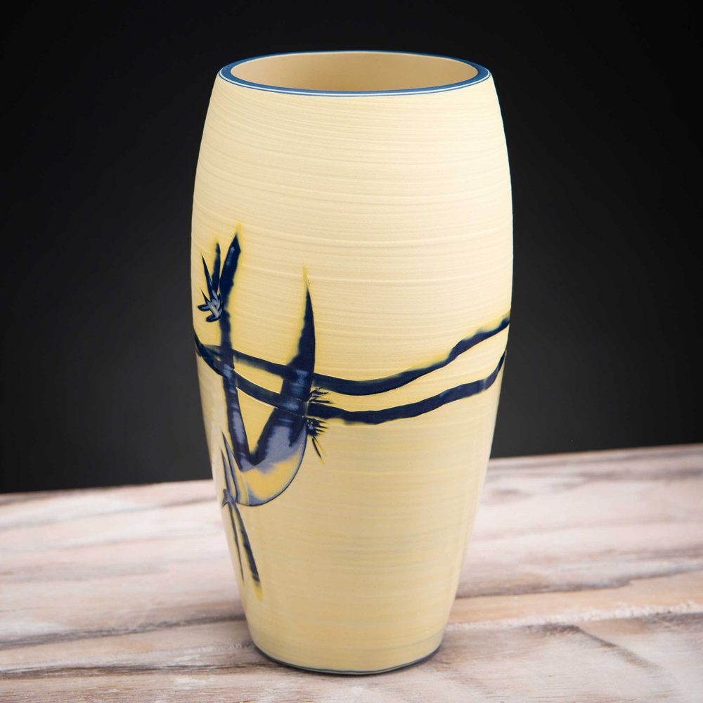 Yellow Shoreline Coast Inspired Ceramic Vase by Rowena Gilbert