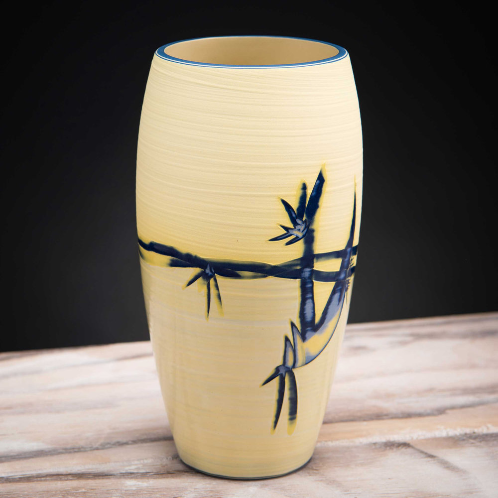 Shoreline Yellow Ceramic Vase Coast Series by Rowena Gilbert