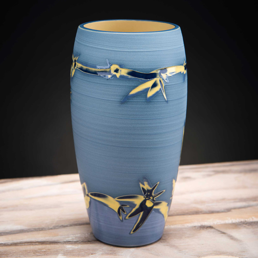 Coast Inspired Blue Ceramic Vase by Rowena Gilbert