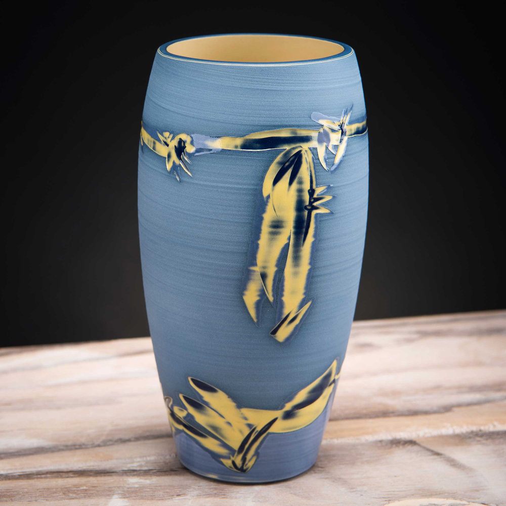 Vase in Pale Blue Yellow by Rowena Gilbert