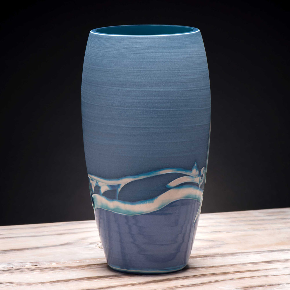 Sea Ripples Pattern Ceramic Vase by Rowena Gilbert