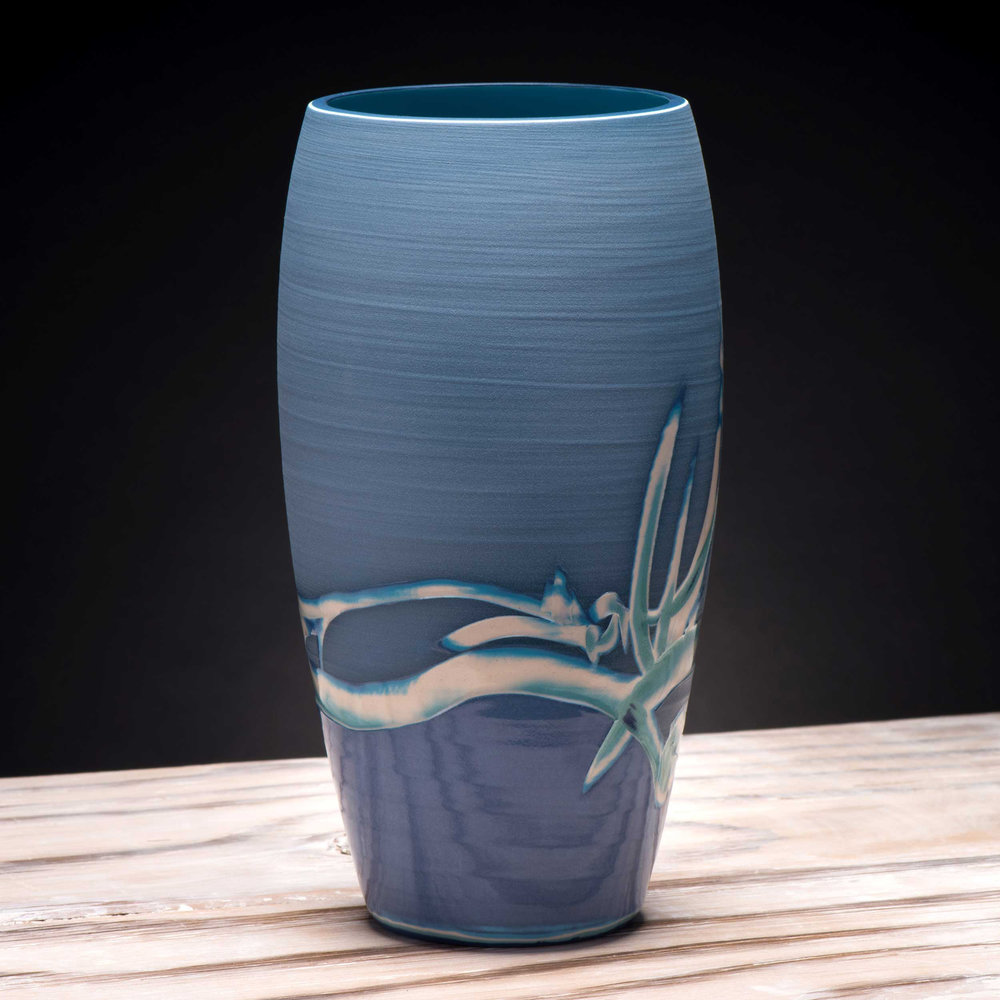 Underwater Sea Reeds Vase by Rowena Gilbert
