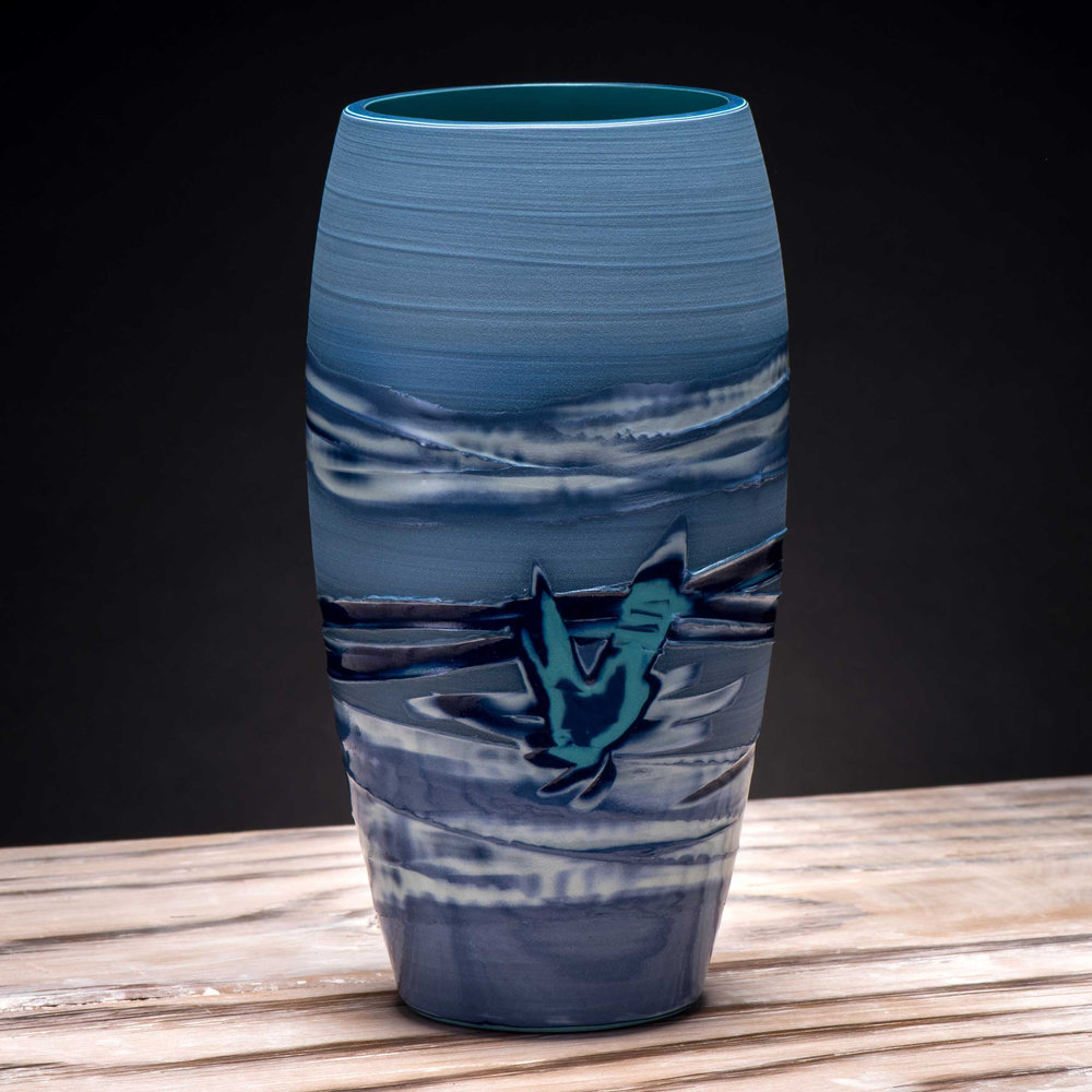 Blue Sea Splash Japanes Style Ceramic Vase by Rowena Gilbert