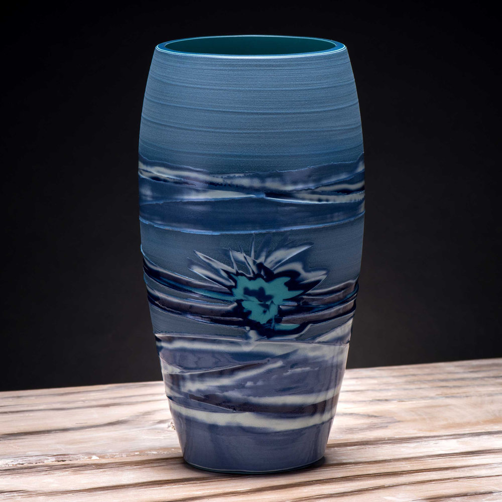 Sea Splash Japanes Style Ceramic Vase by Rowena Gilbert