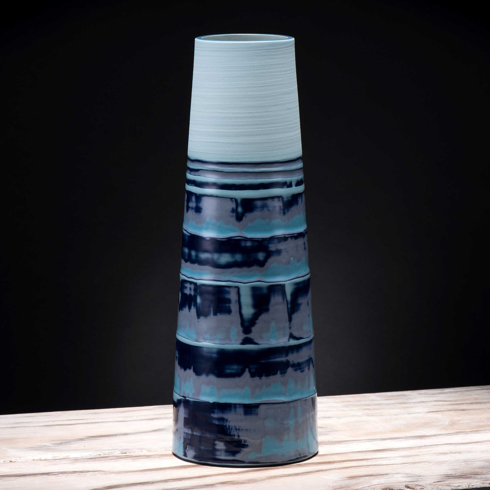 Large Wave Pattern Stem Vase by Rowena Gilbert Coast Series