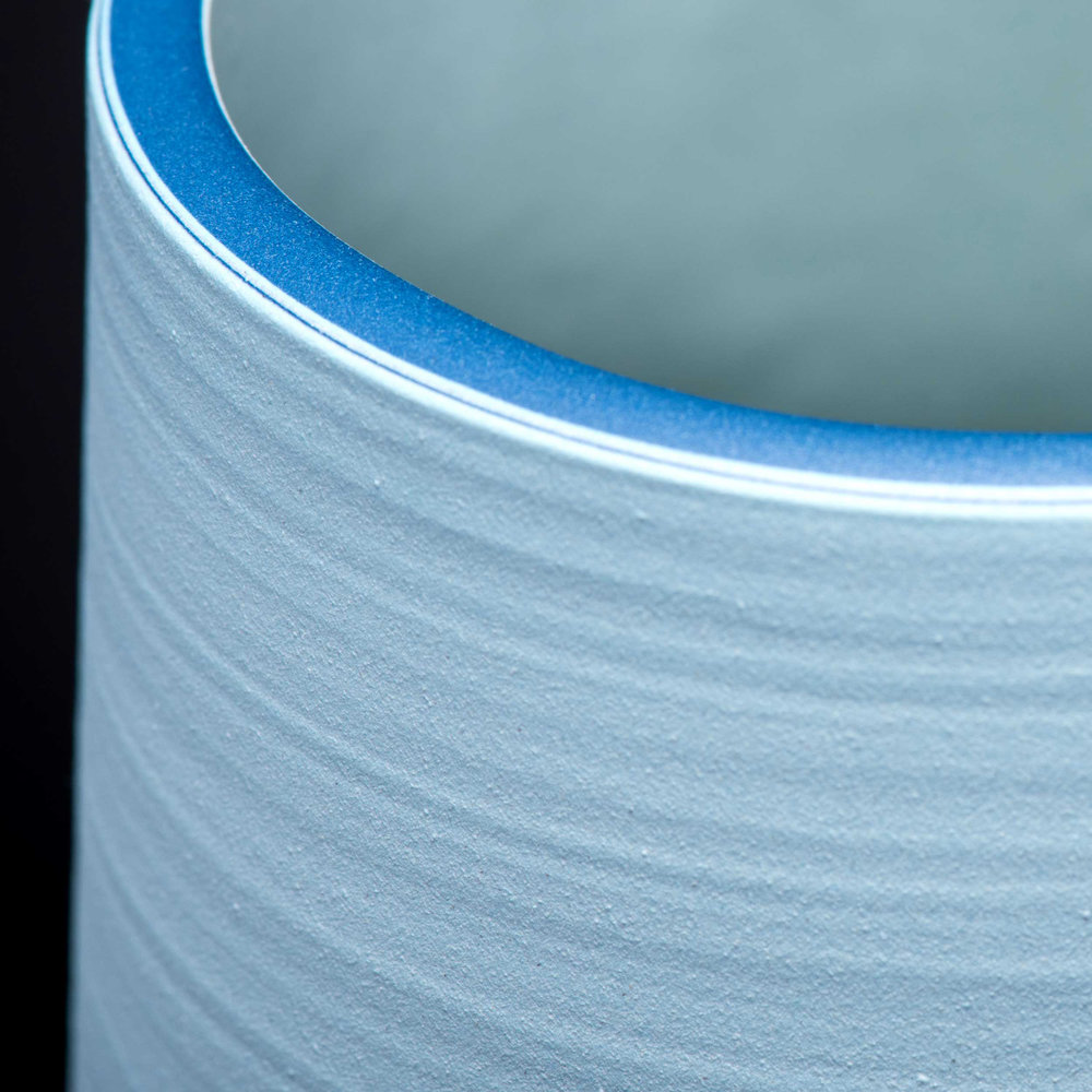 Turquoise Blue Detail Top Rim Ceramic Vase