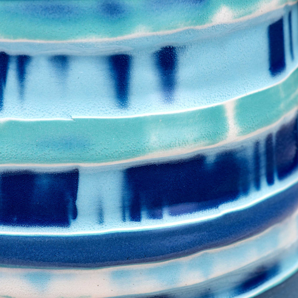 Stripey Glaze Ceramic Detail by Rowena Gilbert Coast Series