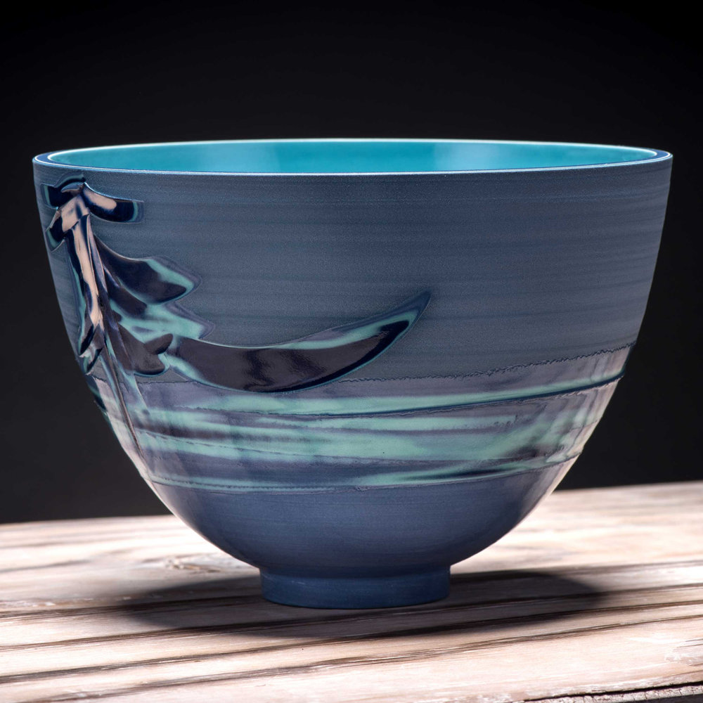 Blue Oriental Waterfall Pattern Bowl by Rowena Gilbert Coast Coi