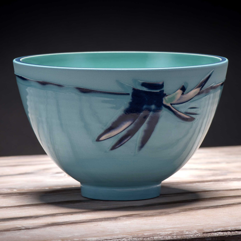 Ceramic Rice Bowl Aquamarine Blue by Rowena Gilbert Coast Series