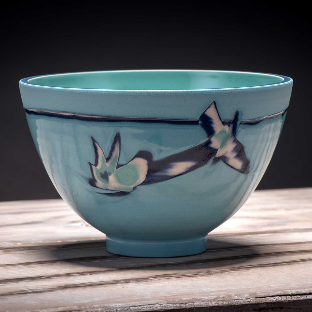 Ceramic Small Bowl Aquamarine Blue by Rowena Gilbert Coast Serie