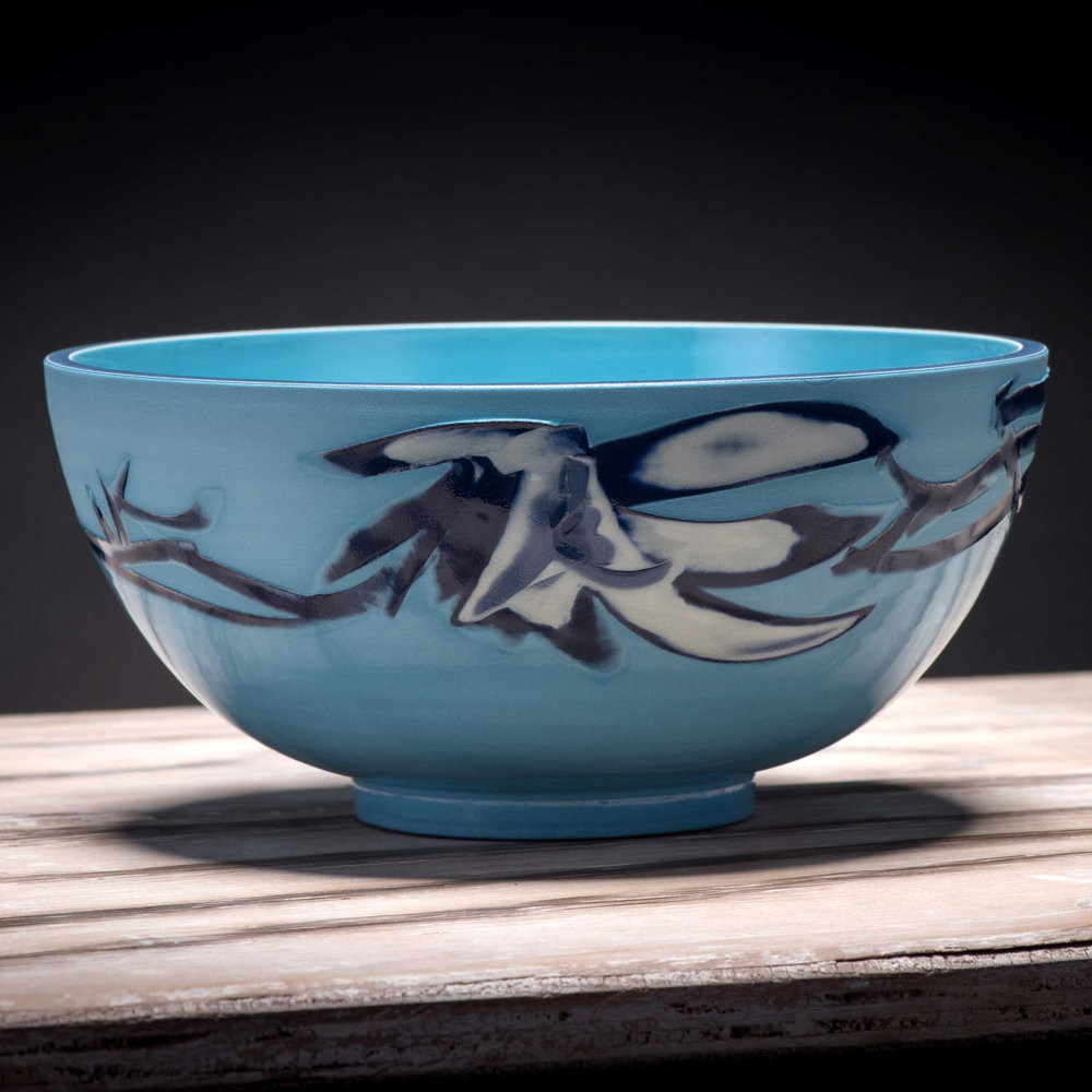 Splash Inspired Turquoise Ceramic Bowll by Rowena Gilbert Coast