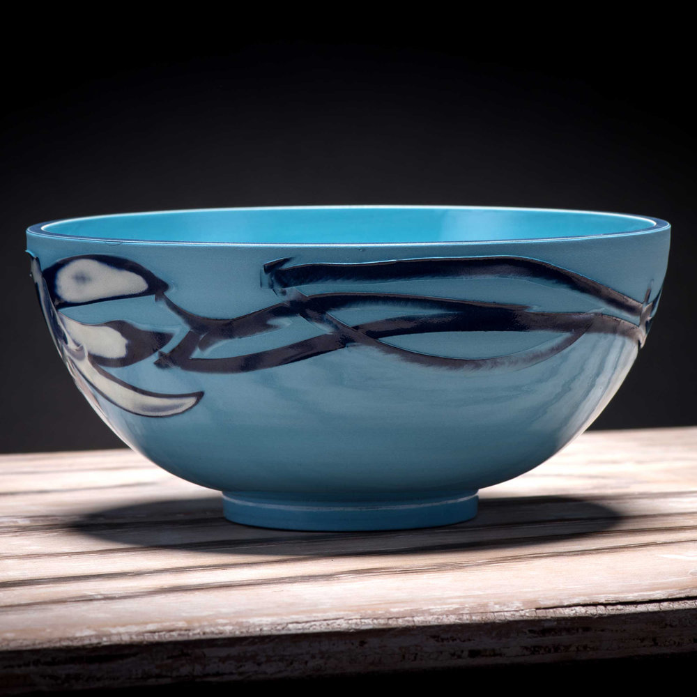 Sea Ripple Pattern Ceramic Bowl by Rowena Gilbert Coast Series