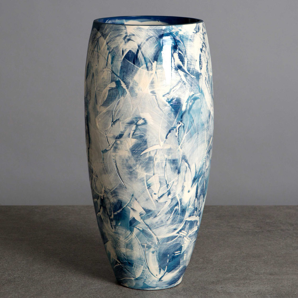 Ceramic Vase by Rowena Gilbert Sea Waves Design