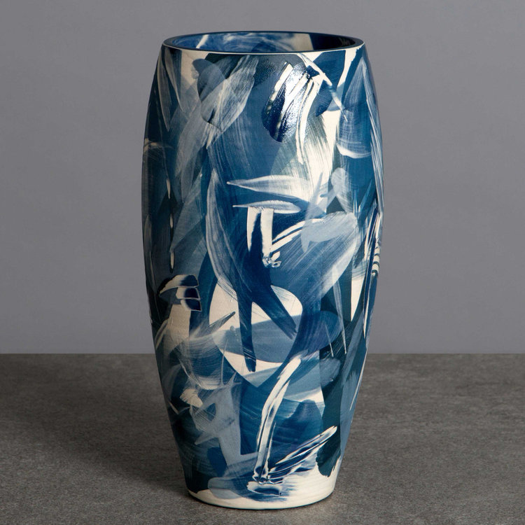 Cobalt Blue Mid Blues Curved Vase Waves Series Contemporary