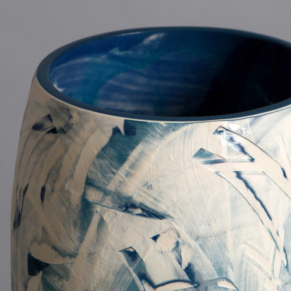White Waves Ceramic Vase Detail