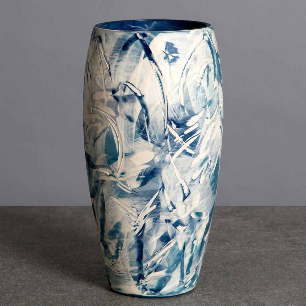 White Wave Ceramic Vase by Rowena Gilbert