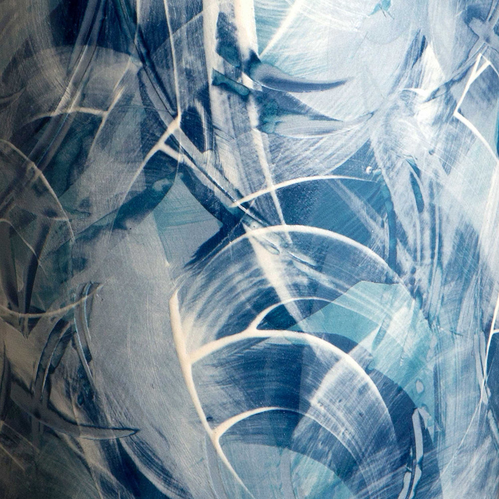 Ceramic Sgraffito Detail Seascape by Rowena Gilbert