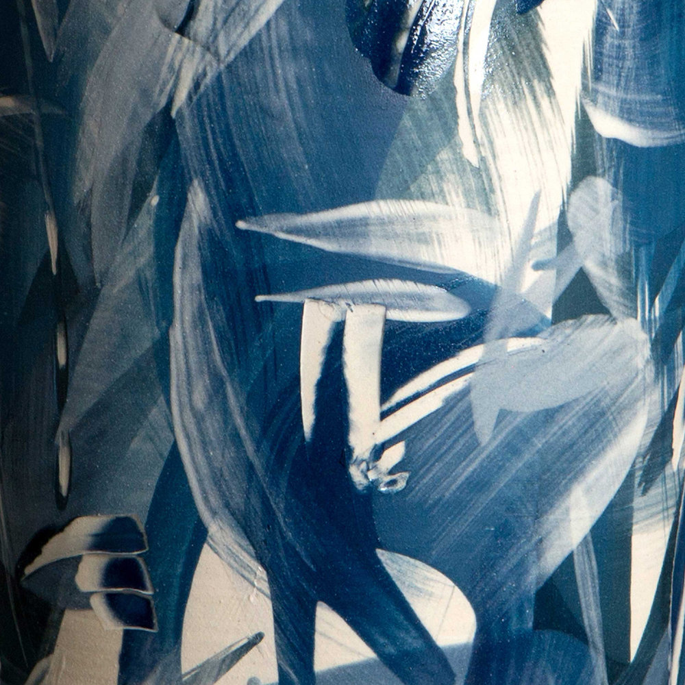 Blue Waves Ceramic Sgraffito Design by Rowena Gilbert