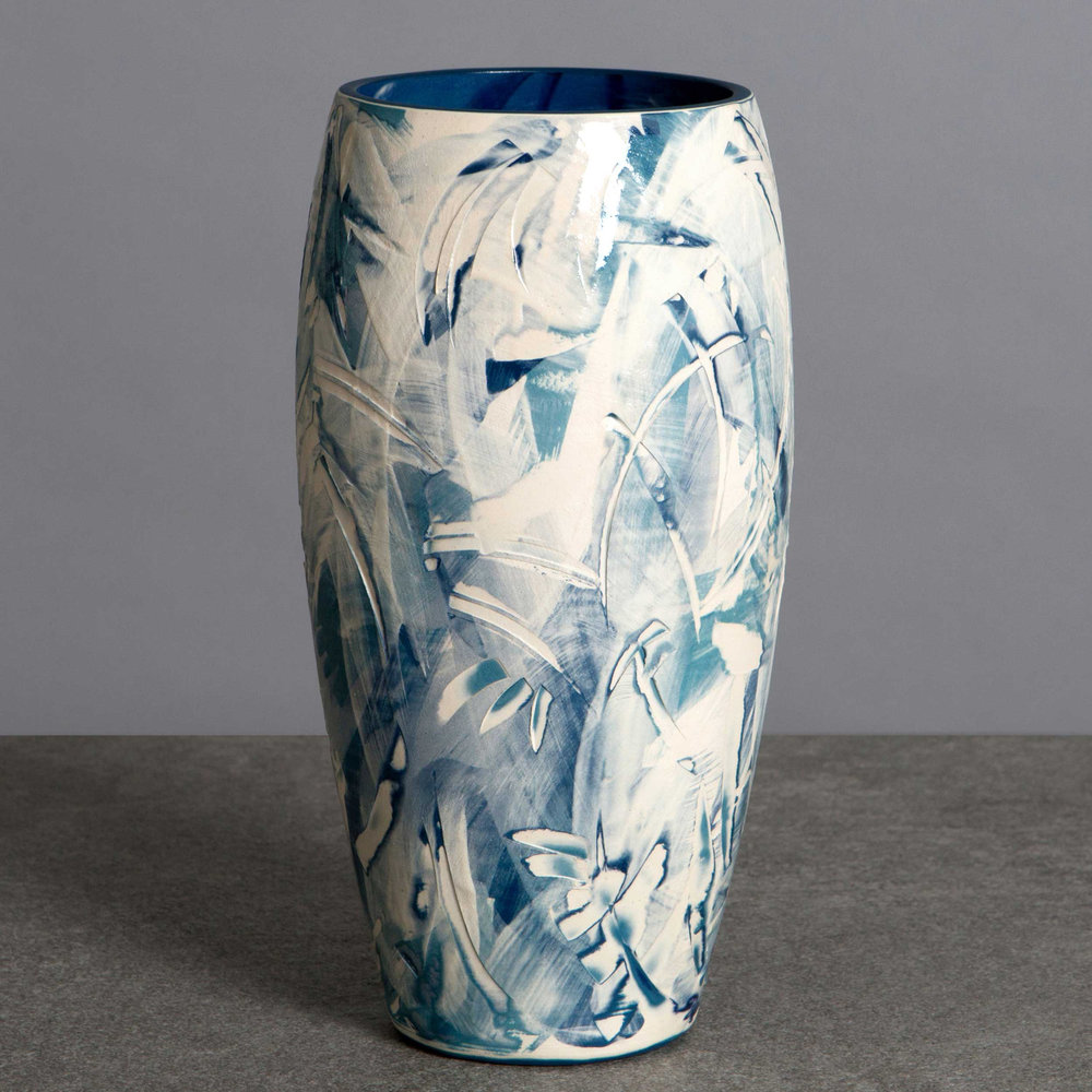 Sea Spray Waves Ceramic Vase by Rowena Gilbert