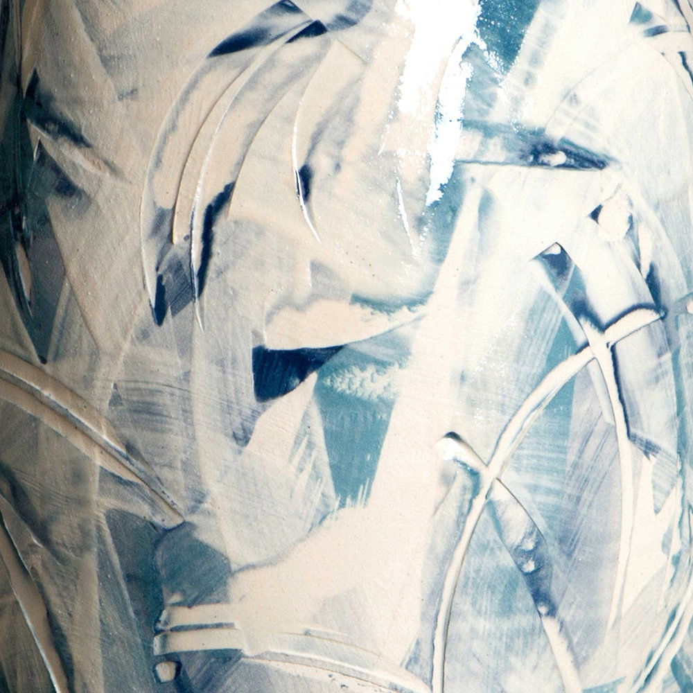 Ceramic Sgraffito Detail Splashing Waves
